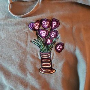 Supreme olive green flower hoodie